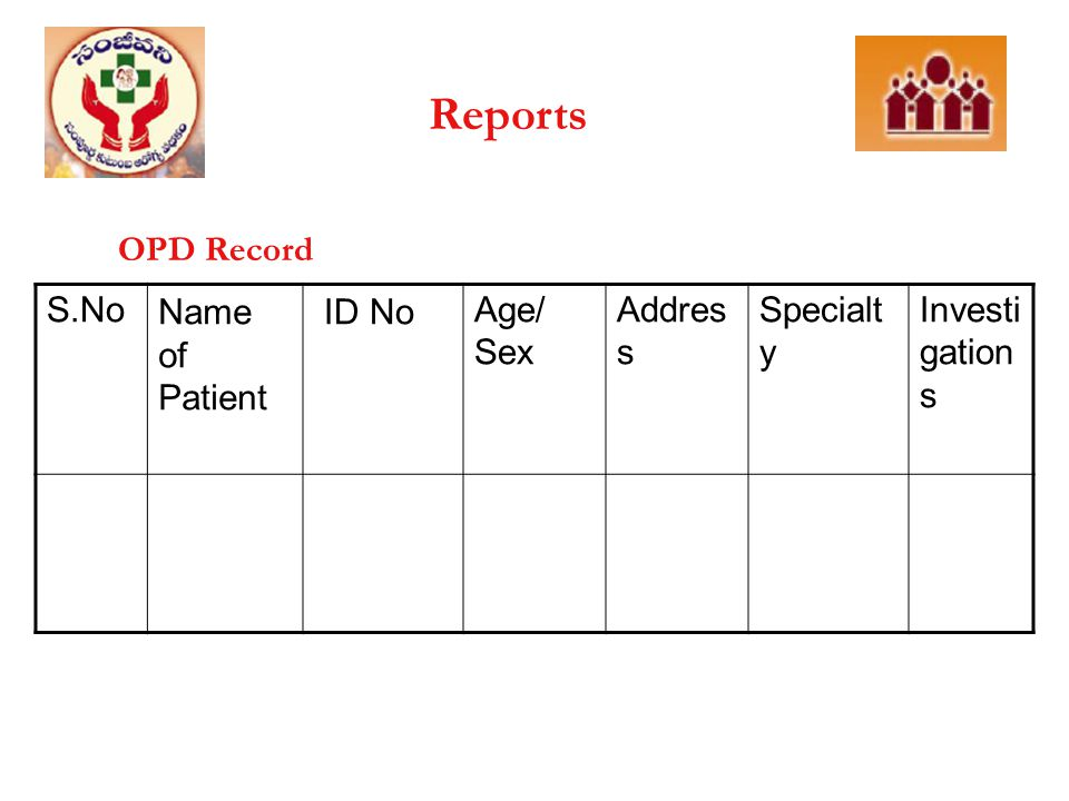 Reports OPD Record S.No Name of Patient ID No Age/ Sex Address