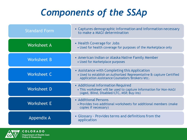 Components of the SSAp Standard Form Worksheet A Worksheet B