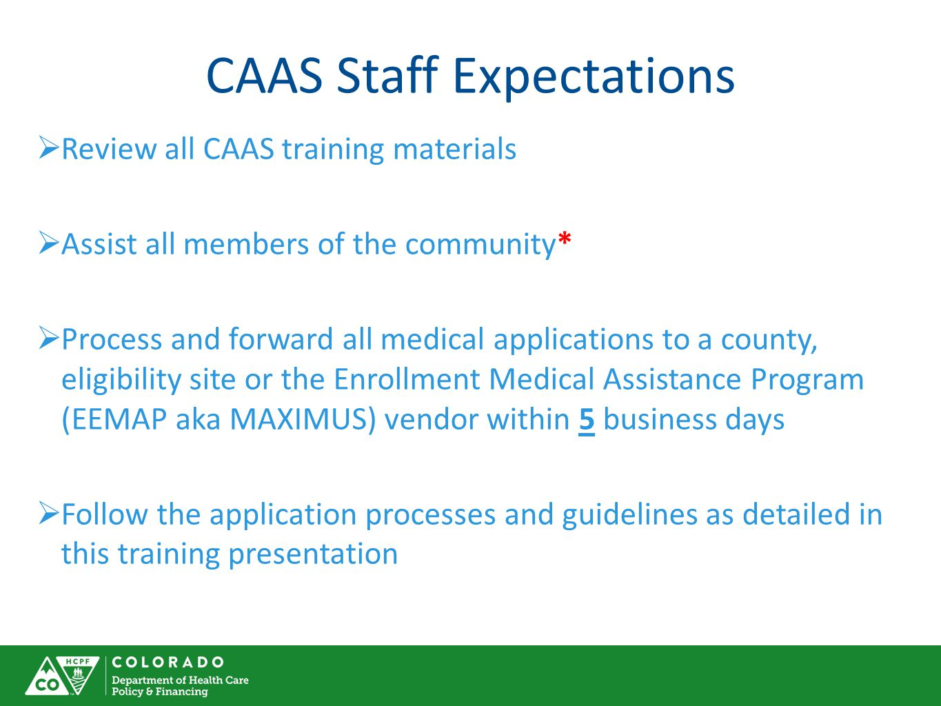 CAAS Staff Expectations
