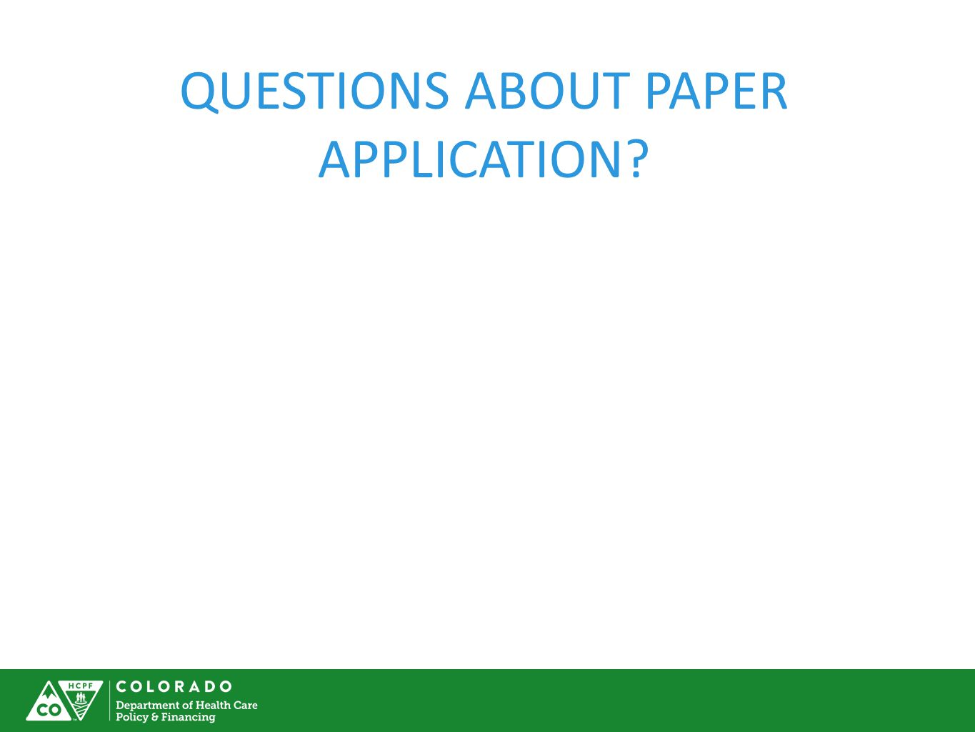QUESTIONS ABOUT PAPER APPLICATION