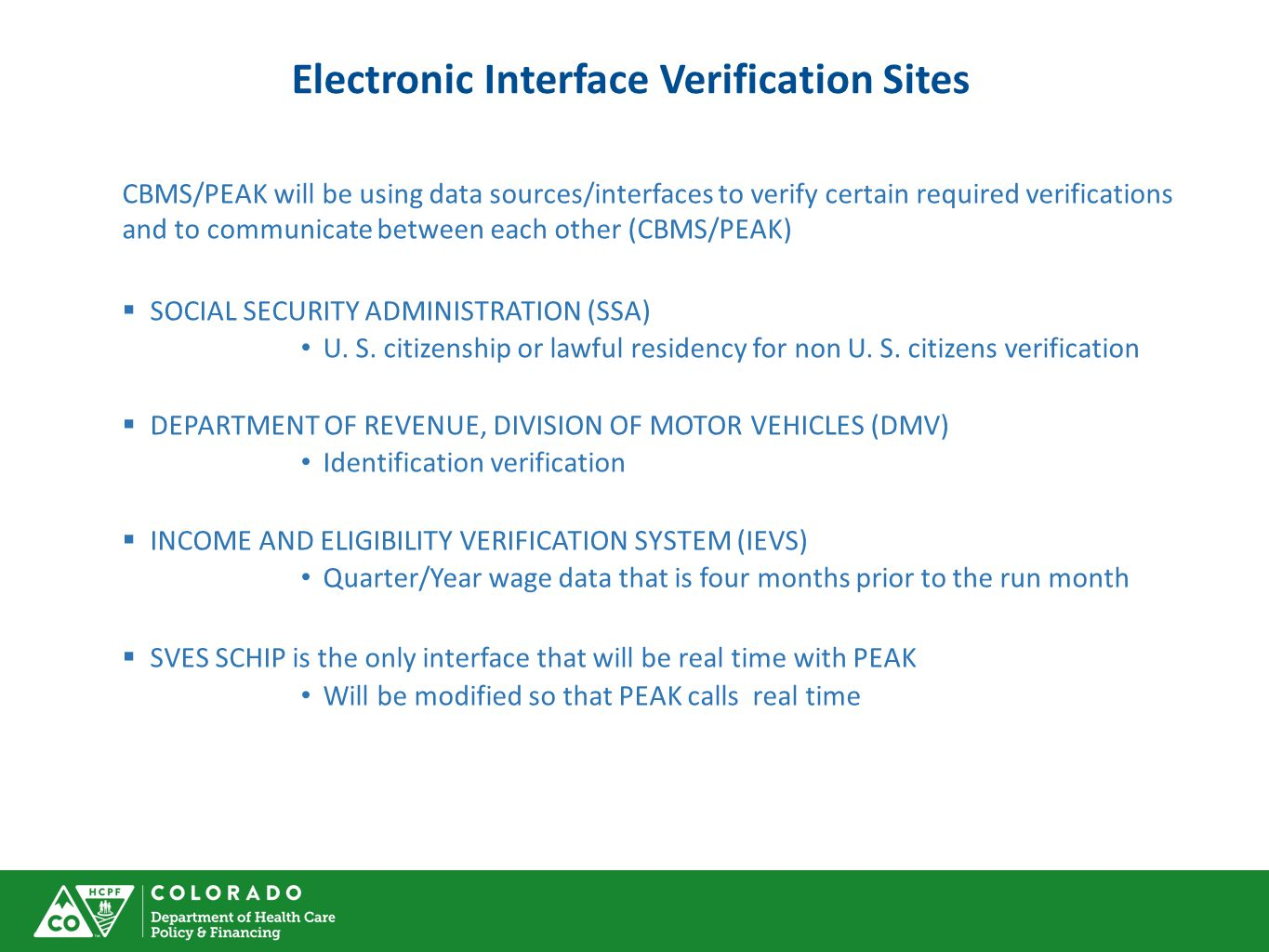 Electronic Interface Verification Sites