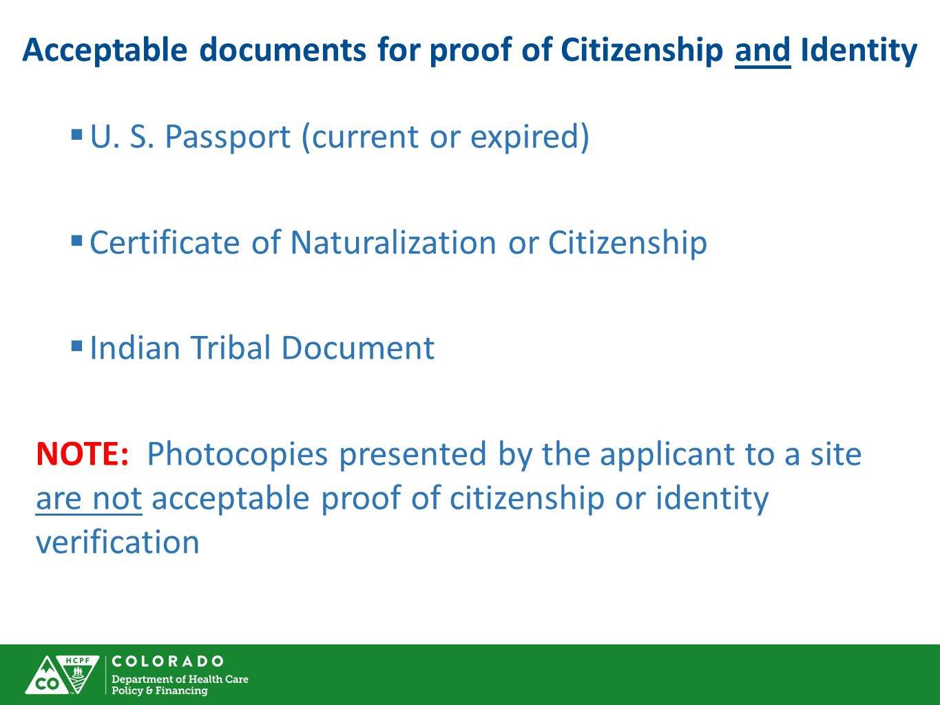 Acceptable documents for proof of Citizenship and Identity