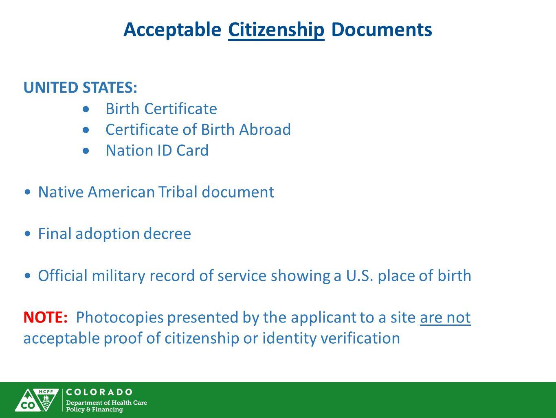 Acceptable Citizenship Documents