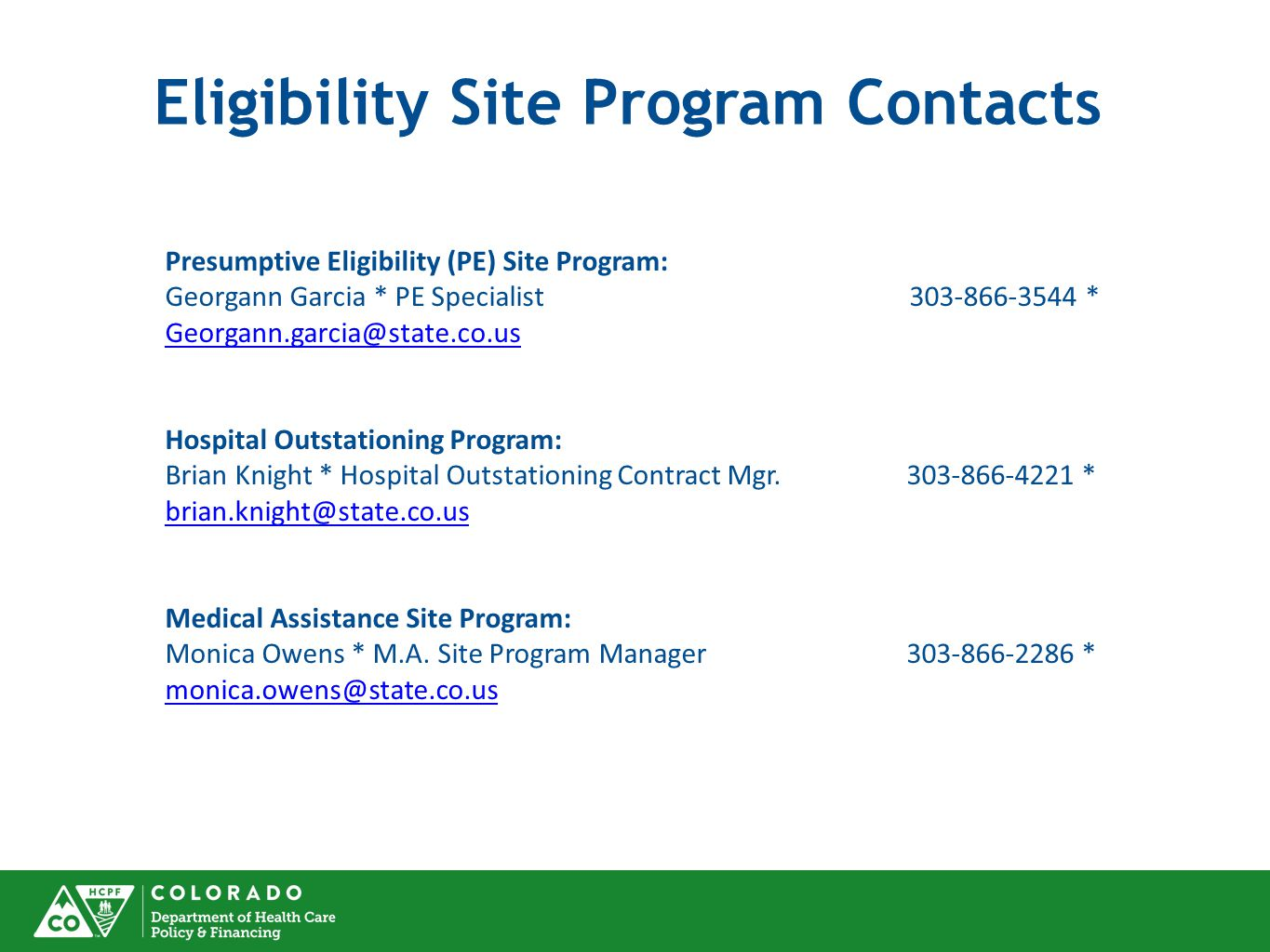 Eligibility Site Program Contacts