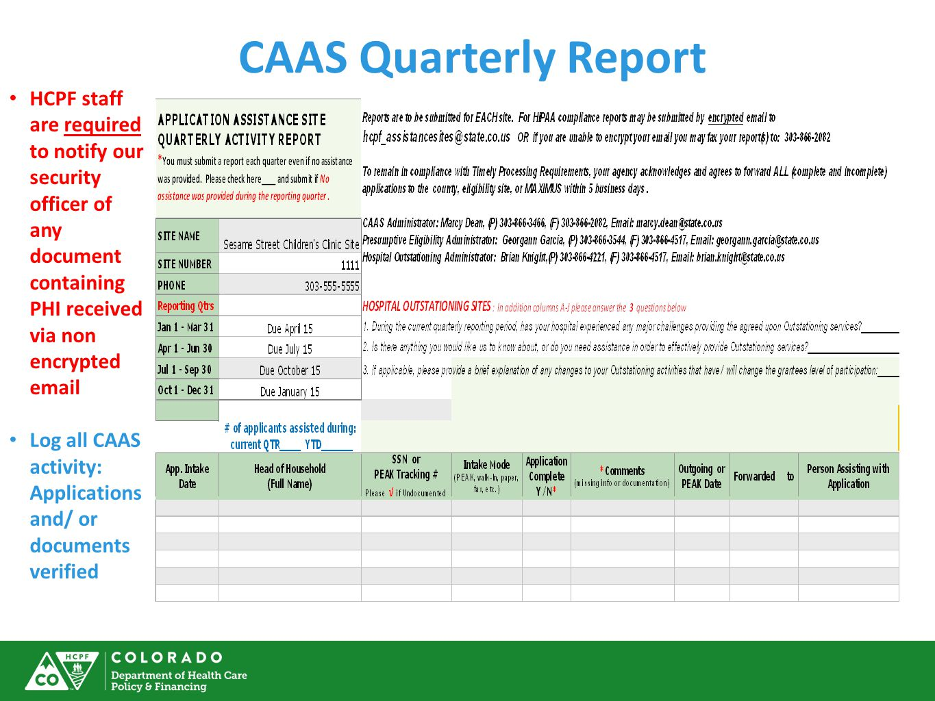 CAAS Quarterly Report HCPF staff are required to notify our security officer of any document containing PHI received via non encrypted email.