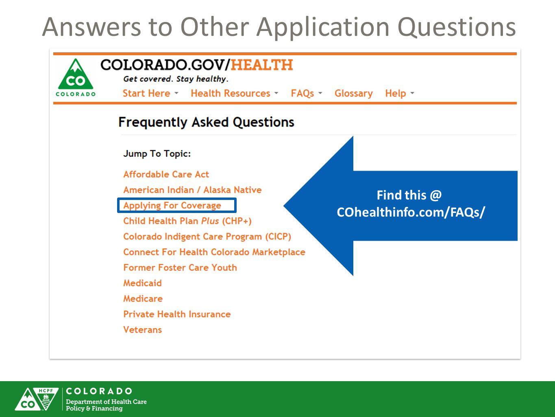 COhealthinfo.com/FAQs/