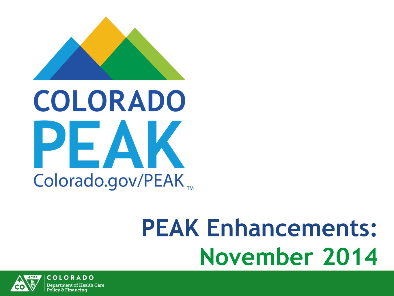 PEAK Enhancements: November 2014