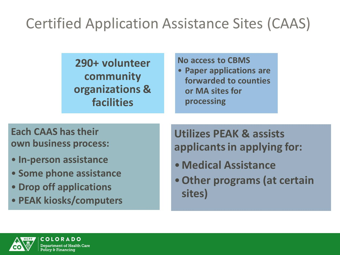 Certified Application Assistance Sites (CAAS)