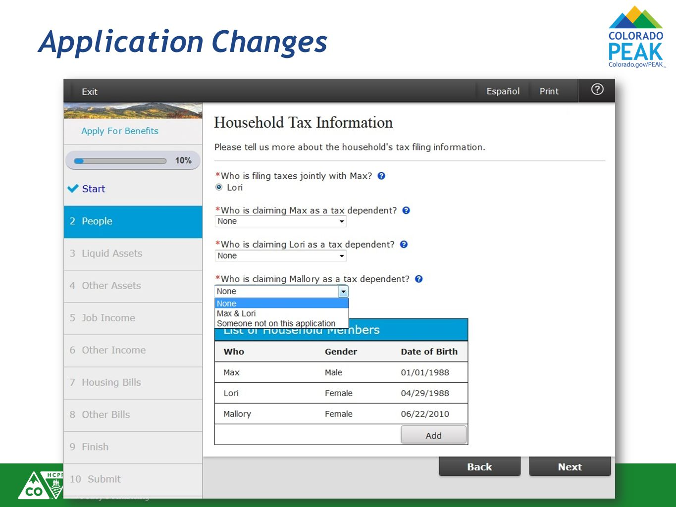 Application Changes Further detail for entering tax filing information.
