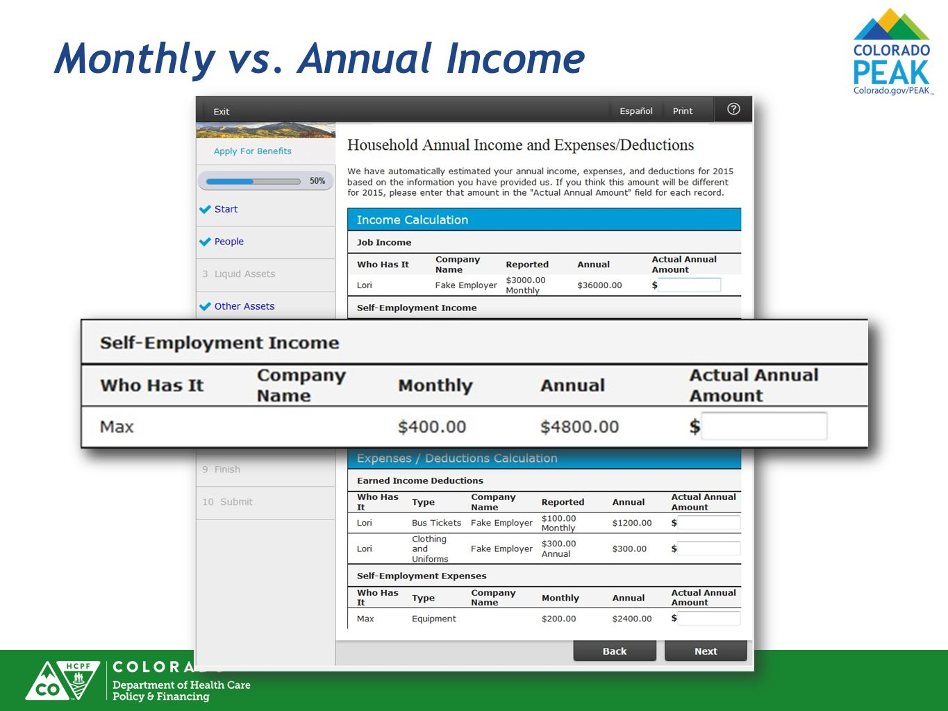 Monthly vs. Annual Income