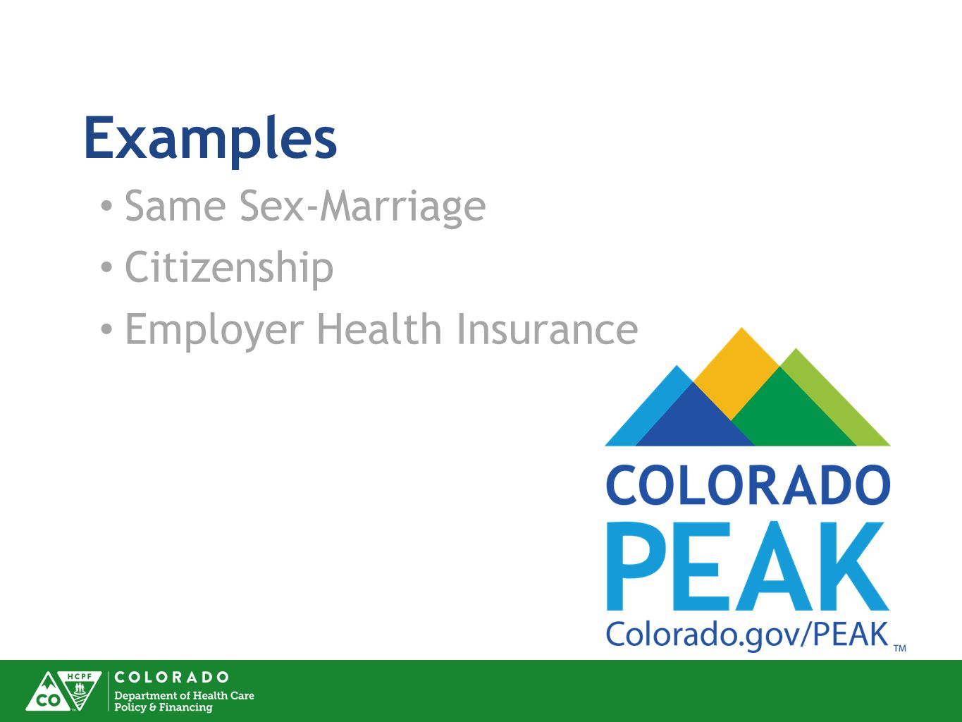 Examples Same Sex-Marriage Citizenship Employer Health Insurance