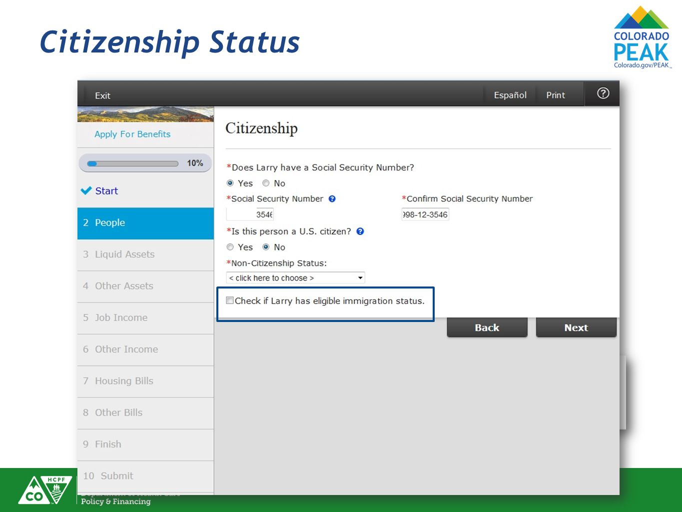 Citizenship Status To see a list of eligible immigration statuses, click the .