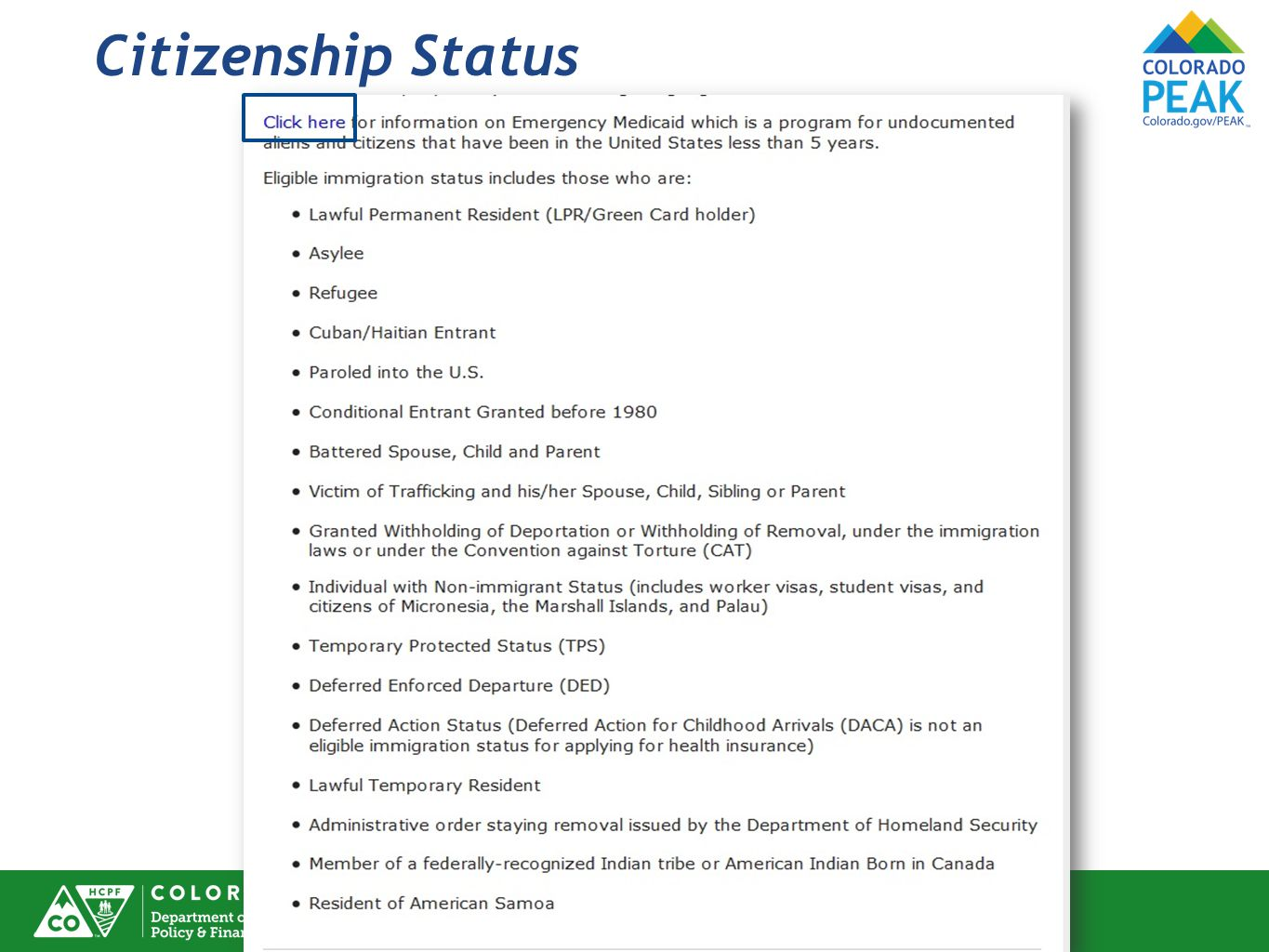 Citizenship Status A list of eligible immigration statuses displays.