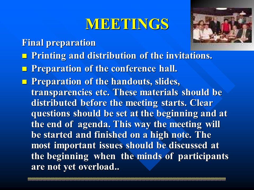 MEETINGS Final preparation