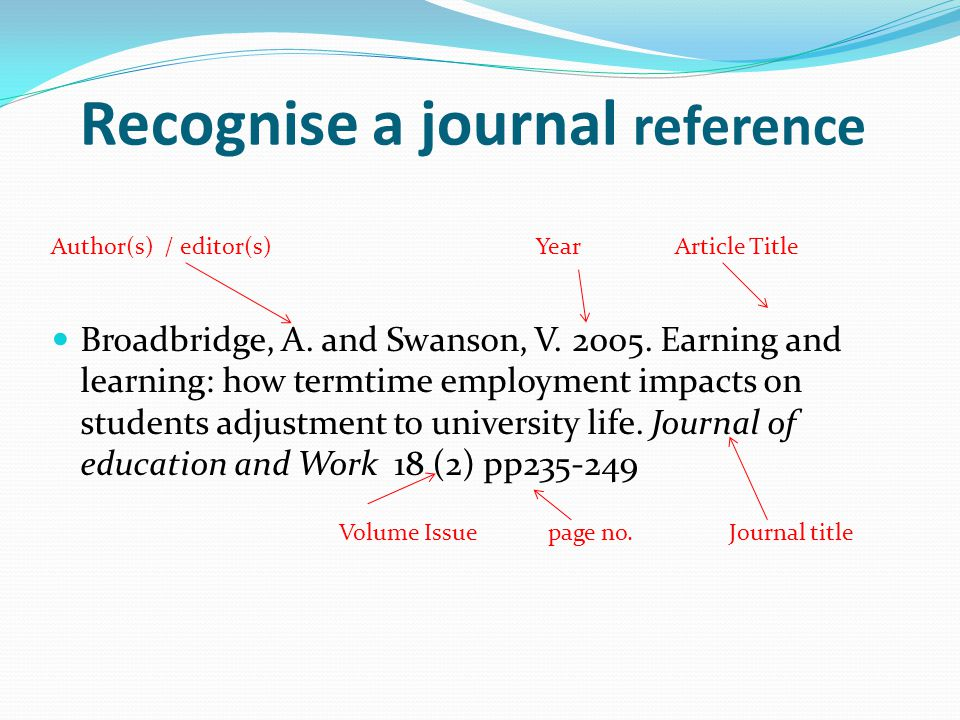 Recognise a journal reference