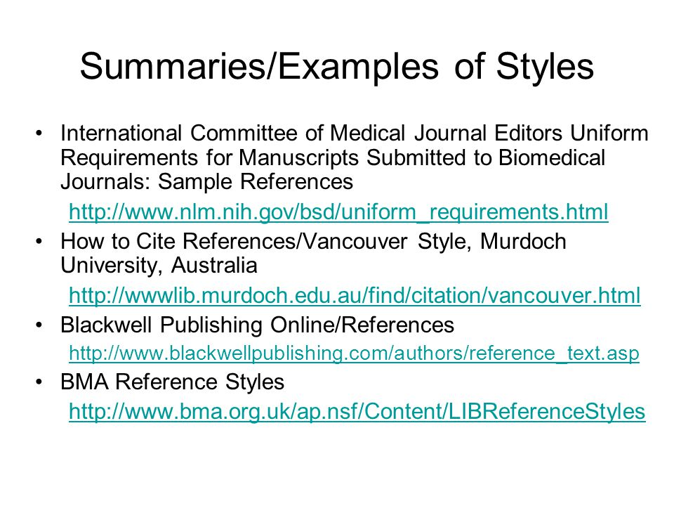 Summaries/Examples of Styles
