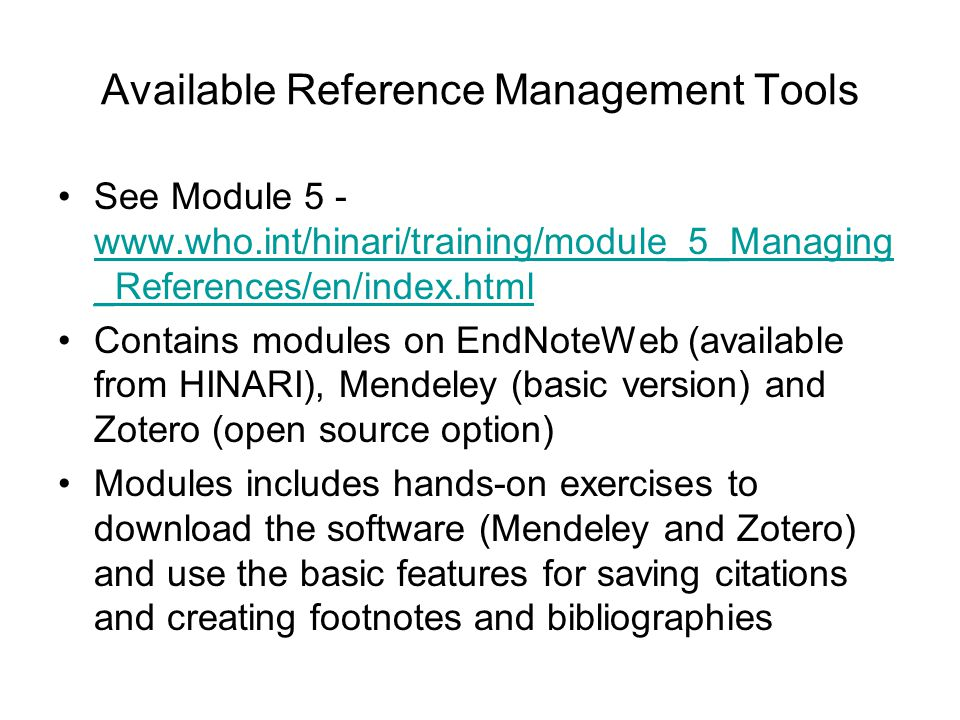Available Reference Management Tools