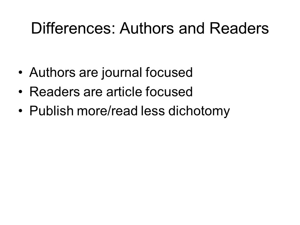 Differences: Authors and Readers
