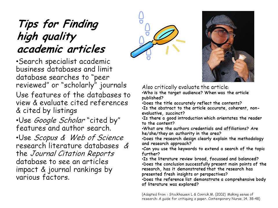 Tips for Finding high quality academic articles