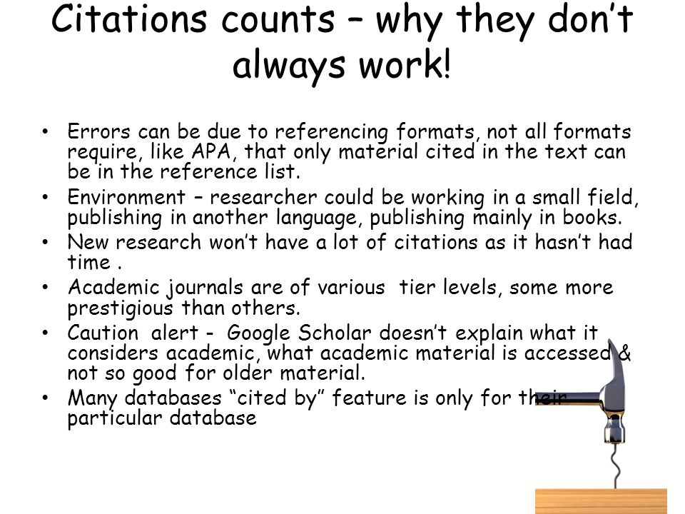 Citations counts – why they don't always work!