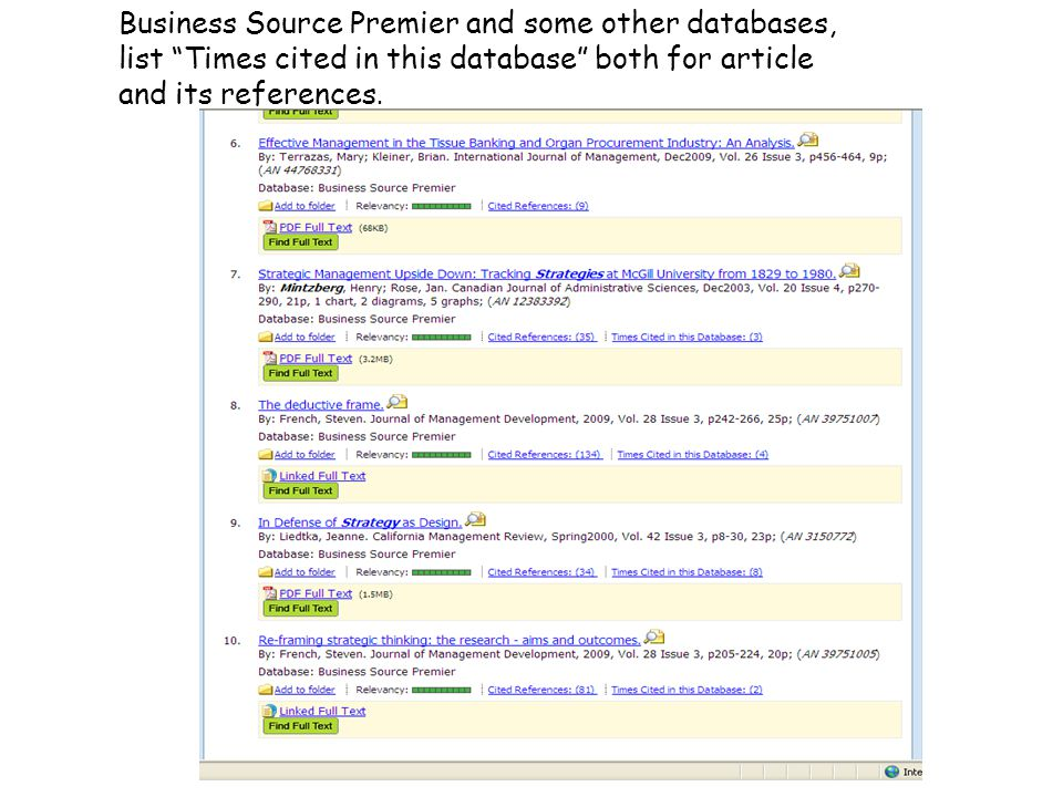 Business Source Premier and some other databases, list Times cited in this database both for article and its references.