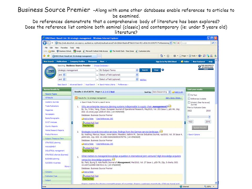 Business Source Premier -Along with some other databases enable references to articles to be examined.