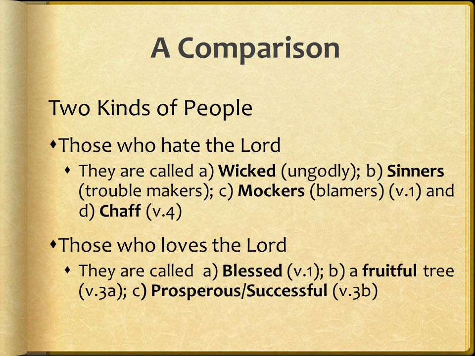 A Comparison Two Kinds of People Those who hate the Lord