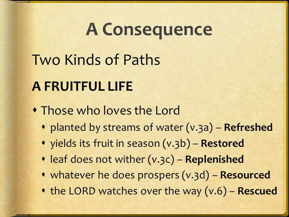 A Consequence Two Kinds of Paths A FRUITFUL LIFE
