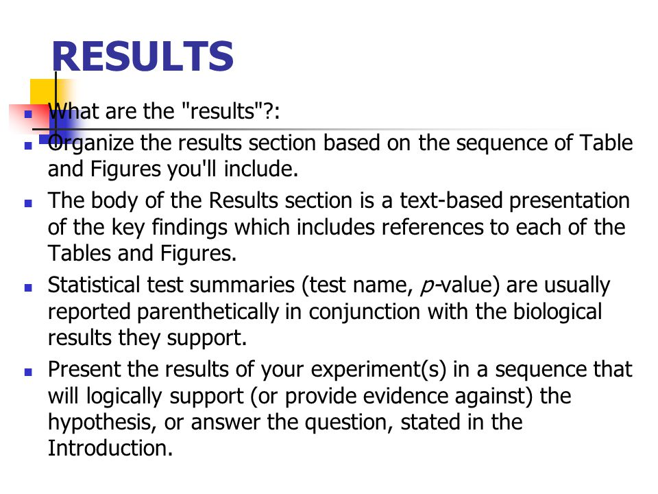 RESULTS What are the results :