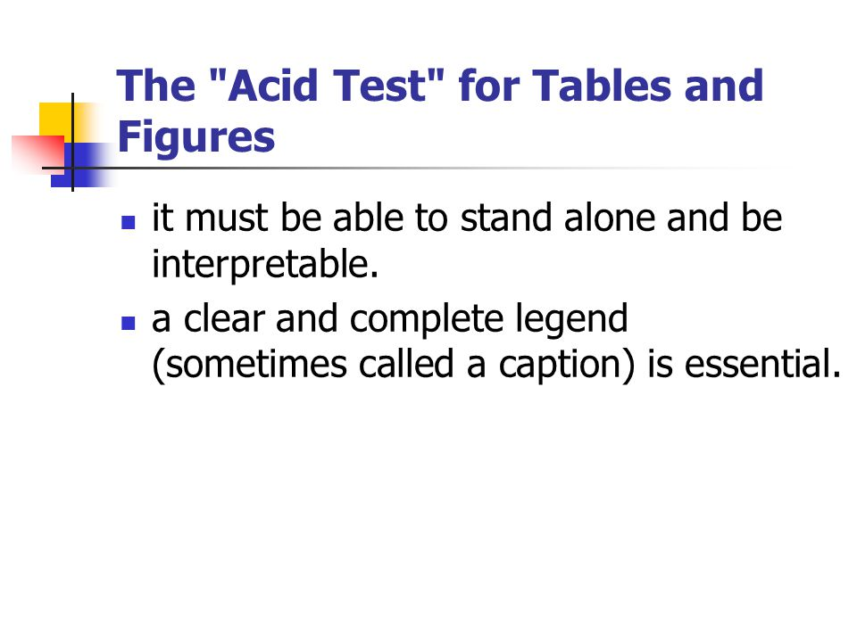 The Acid Test for Tables and Figures