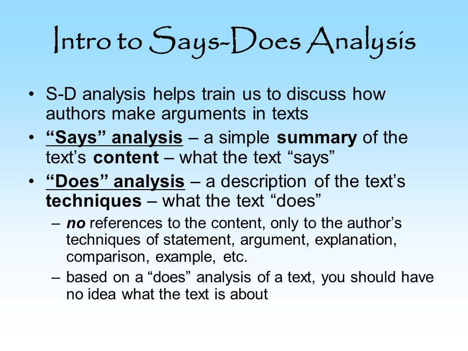 Intro to Says-Does Analysis