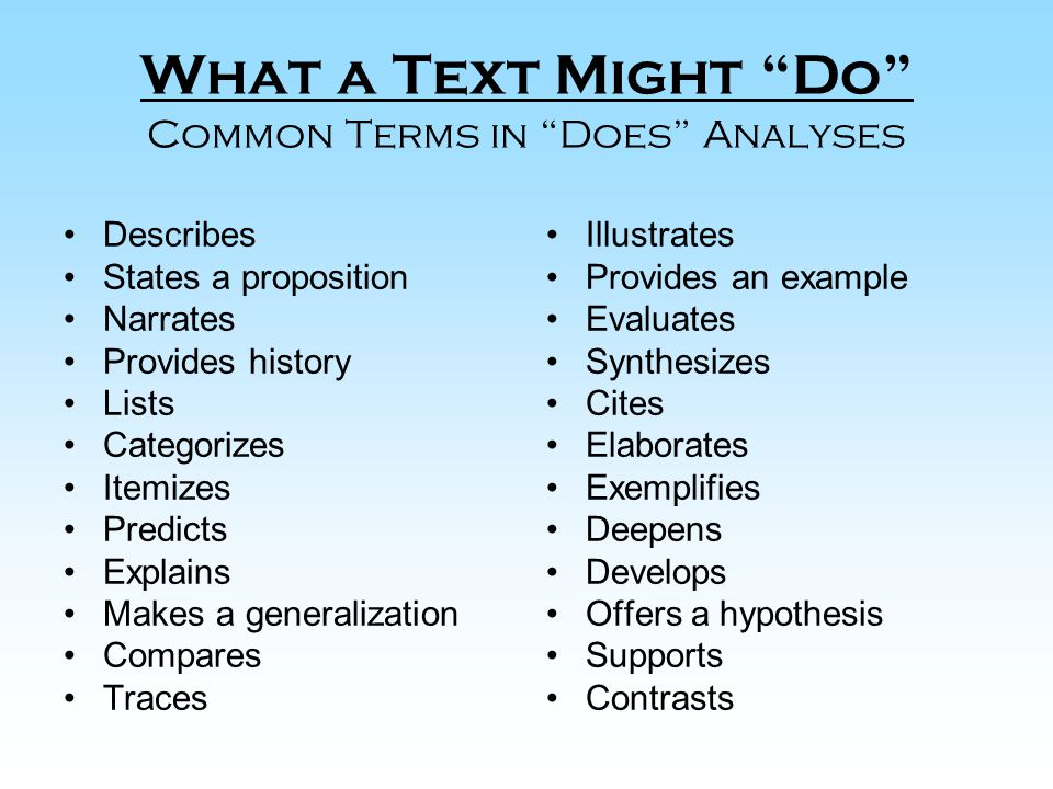 What a Text Might Do Common Terms in Does Analyses