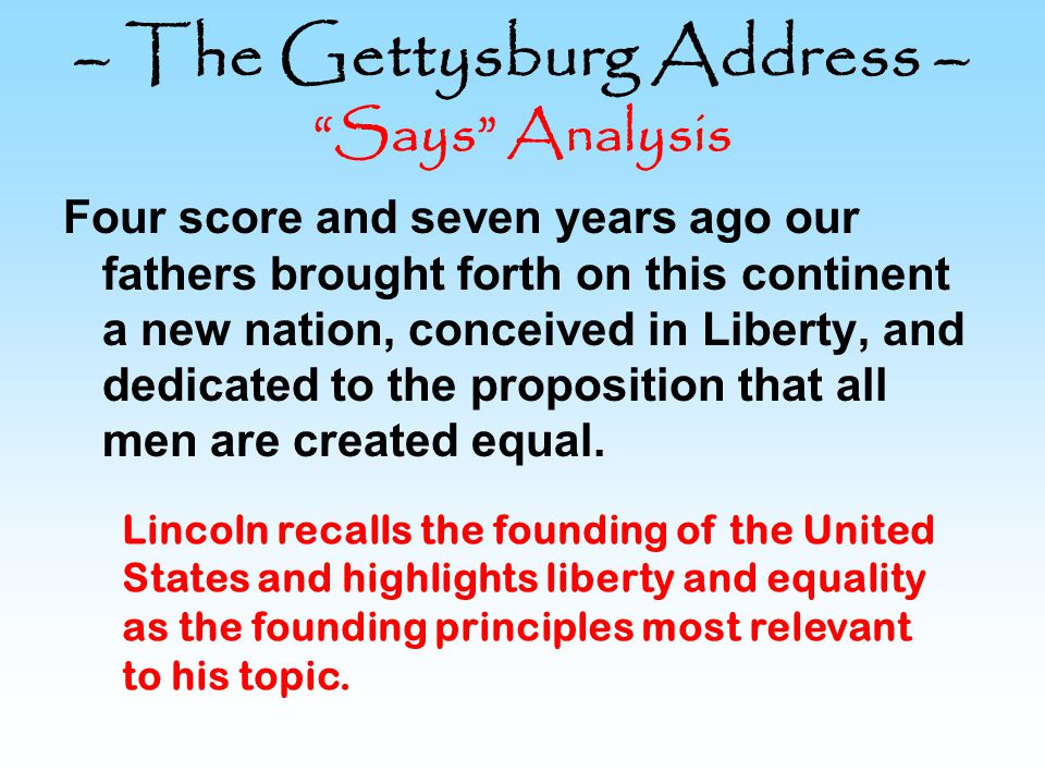 – The Gettysburg Address – Says Analysis