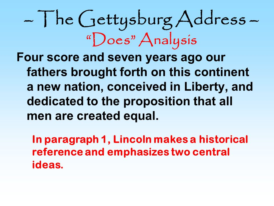 – The Gettysburg Address – Does Analysis