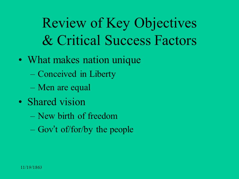 Review of Key Objectives & Critical Success Factors