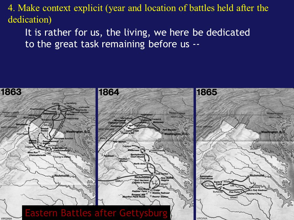 4. Make context explicit (year and location of battles held after the dedication)