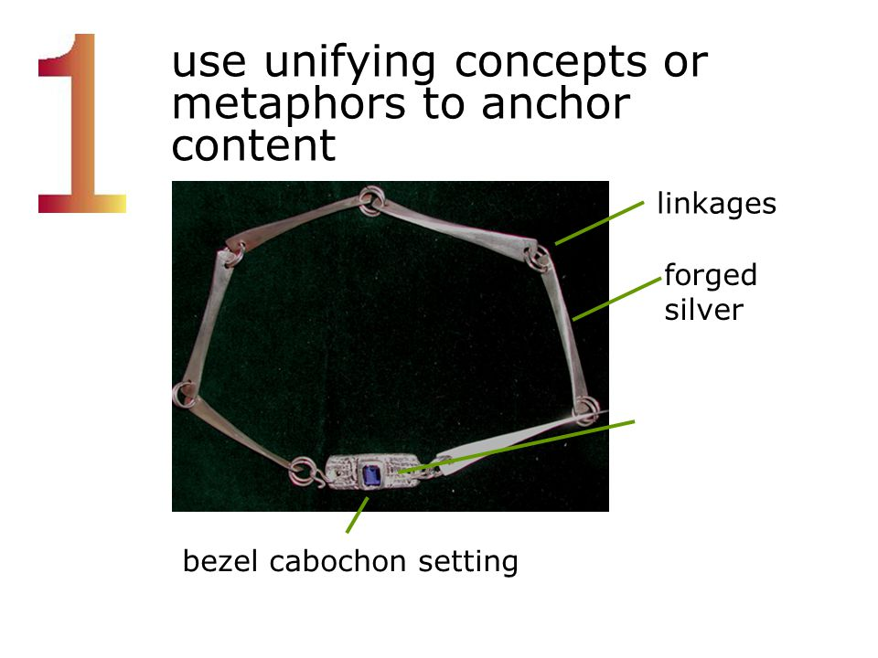 use unifying concepts or metaphors to anchor content