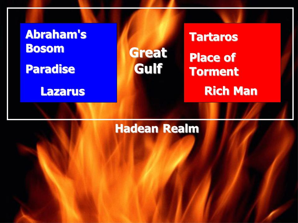 Great Gulf Abraham s Bosom Tartaros Place of Torment Paradise Lazarus