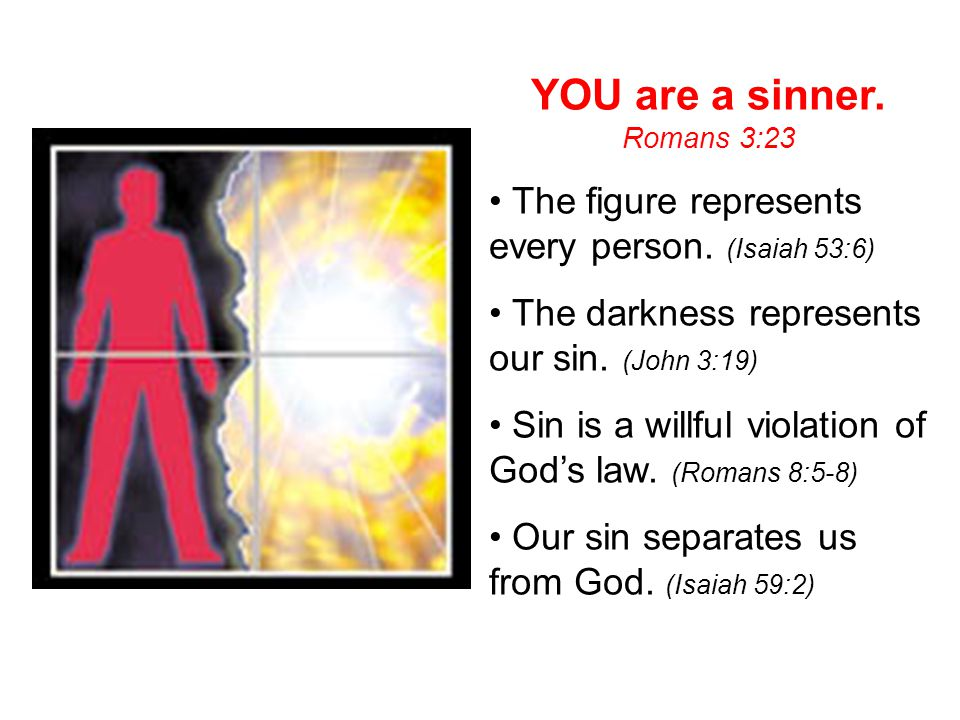 YOU are a sinner. The figure represents every person. (Isaiah 53:6)