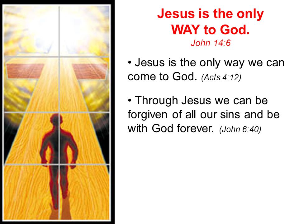 Jesus is the only WAY to God.