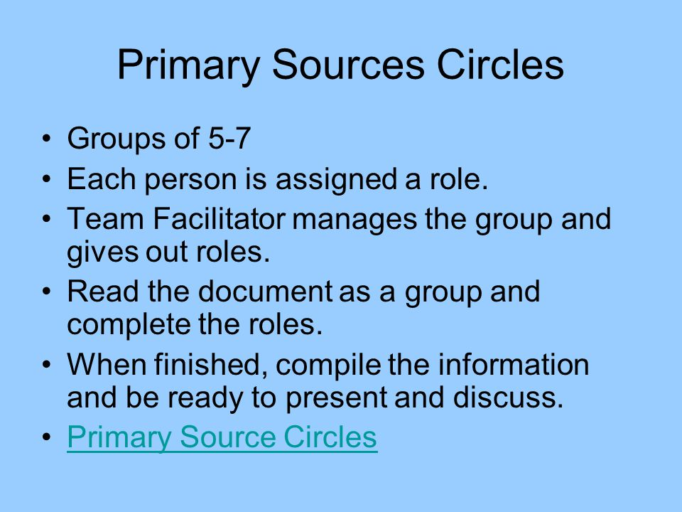 Primary Sources Circles