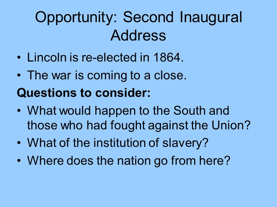 Opportunity: Second Inaugural Address