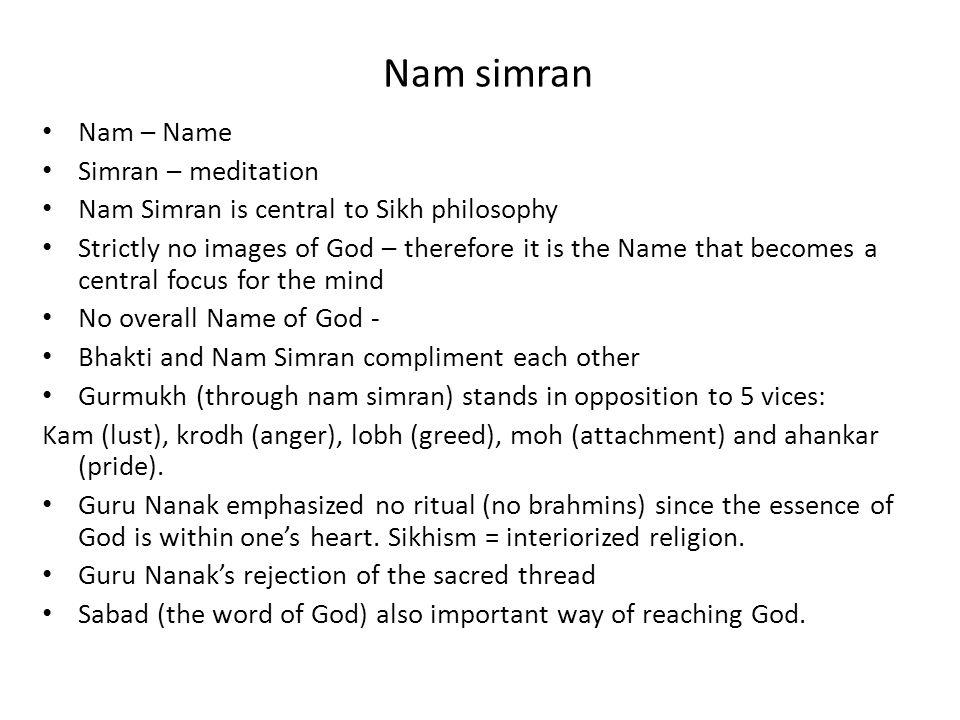 Nam simran Nam – Name Simran – meditation