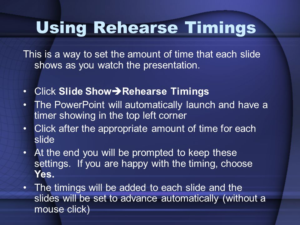 Using Rehearse Timings