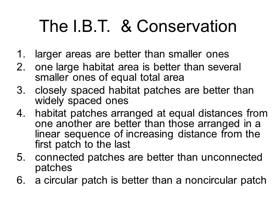 The I.B.T. & Conservation larger areas are better than smaller ones