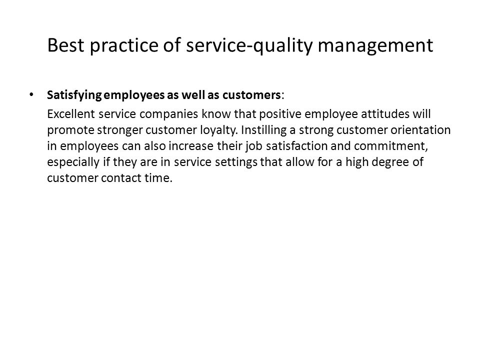 Best practice of service-quality management