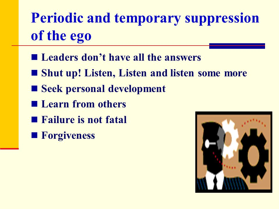 Periodic and temporary suppression of the ego