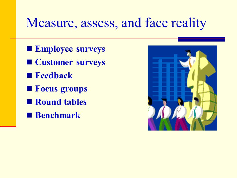 Measure, assess, and face reality