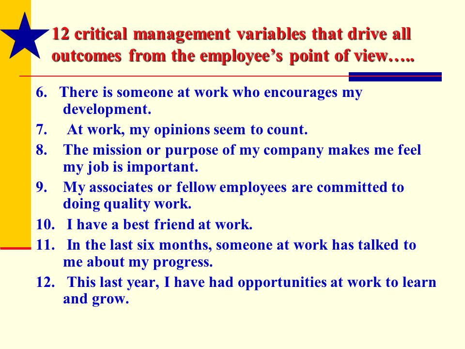 12 critical management variables that drive all outcomes from the employee's point of view…..