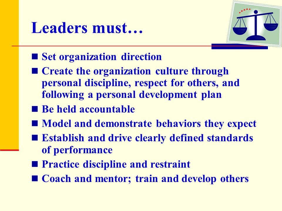 Leaders must… Set organization direction